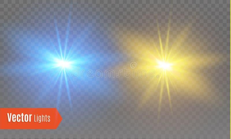 与透明的白色发光的轻的爆炸爆炸 凉快的作用装饰的传染媒介例证与光芒闪耀 皇族释放例证
