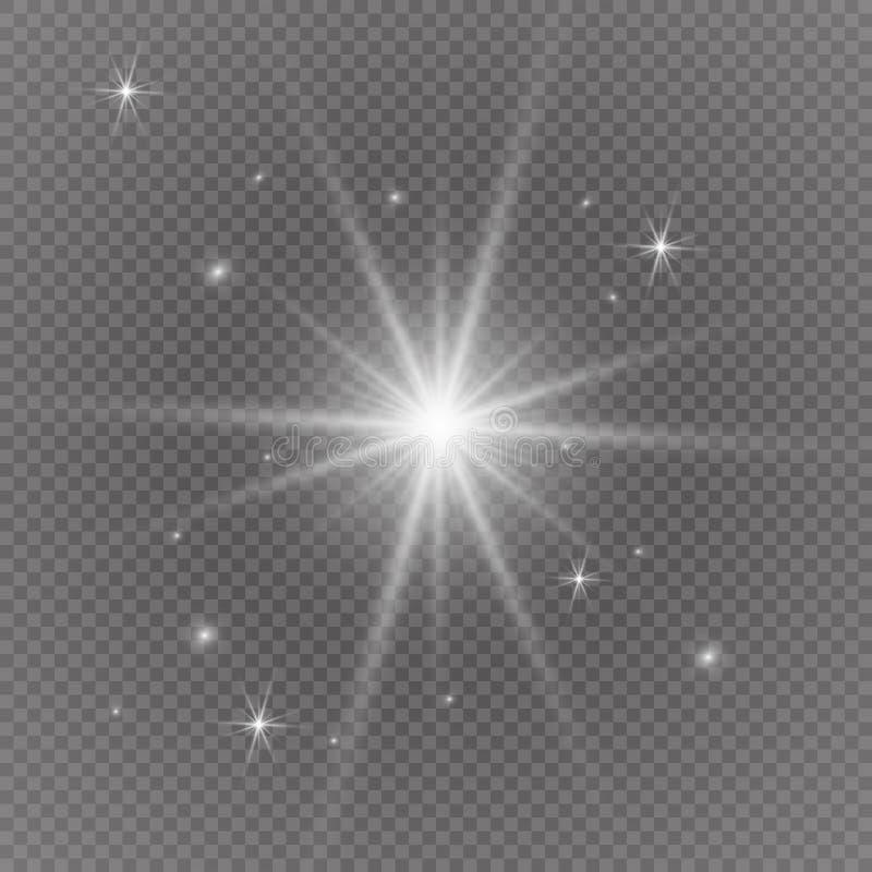 与透明的白色发光的轻的爆炸爆炸 凉快的作用装饰的传染媒介例证与光芒闪耀 明亮的sta 免版税图库摄影