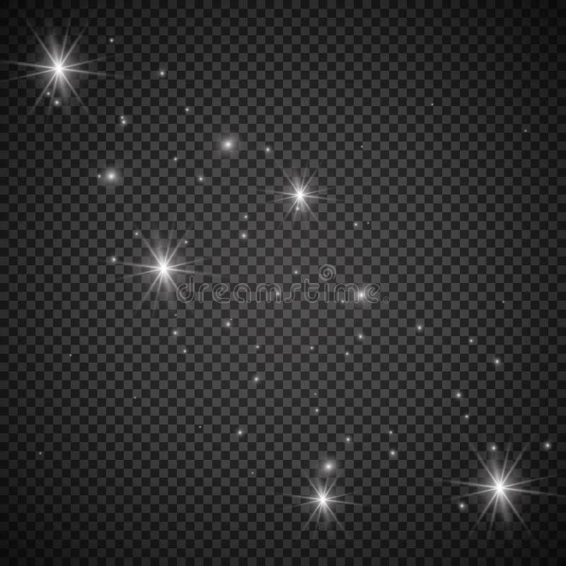 与透明的白色发光的轻的爆炸爆炸 凉快的作用装饰的传染媒介例证与光芒闪耀 明亮的sta 免版税库存照片