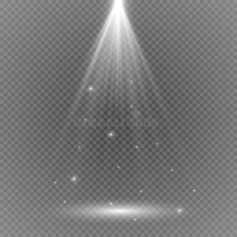 与透明的白色发光的轻的爆炸爆炸 凉快的作用装饰的传染媒介例证与光芒闪耀 明亮的sta 库存照片