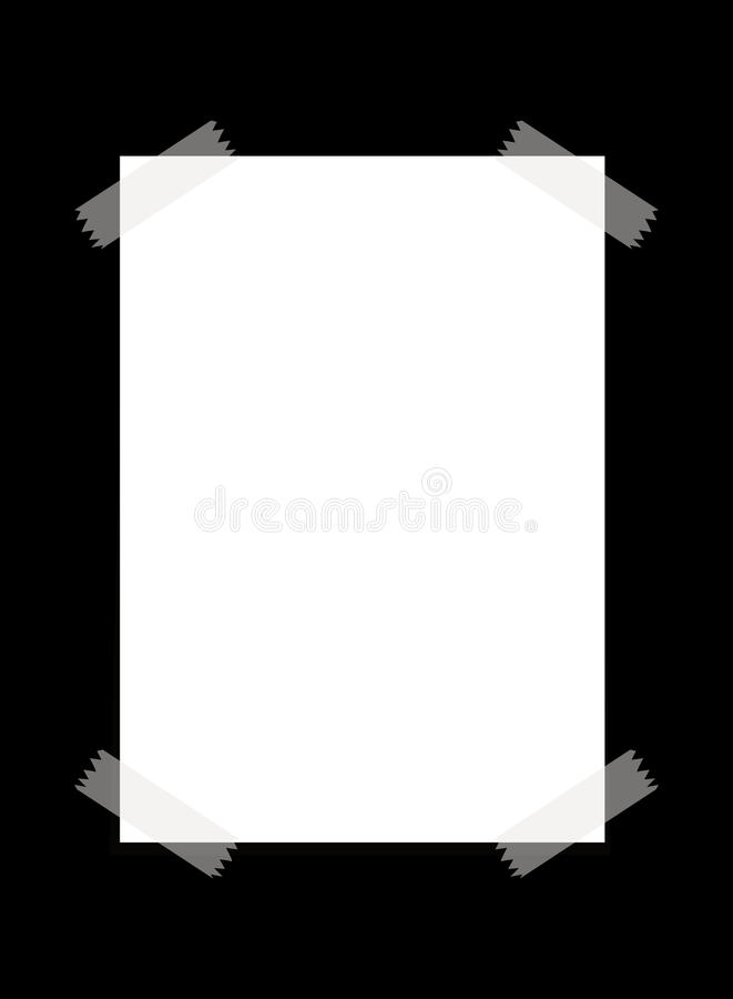 与透明磁带的白纸 库存例证