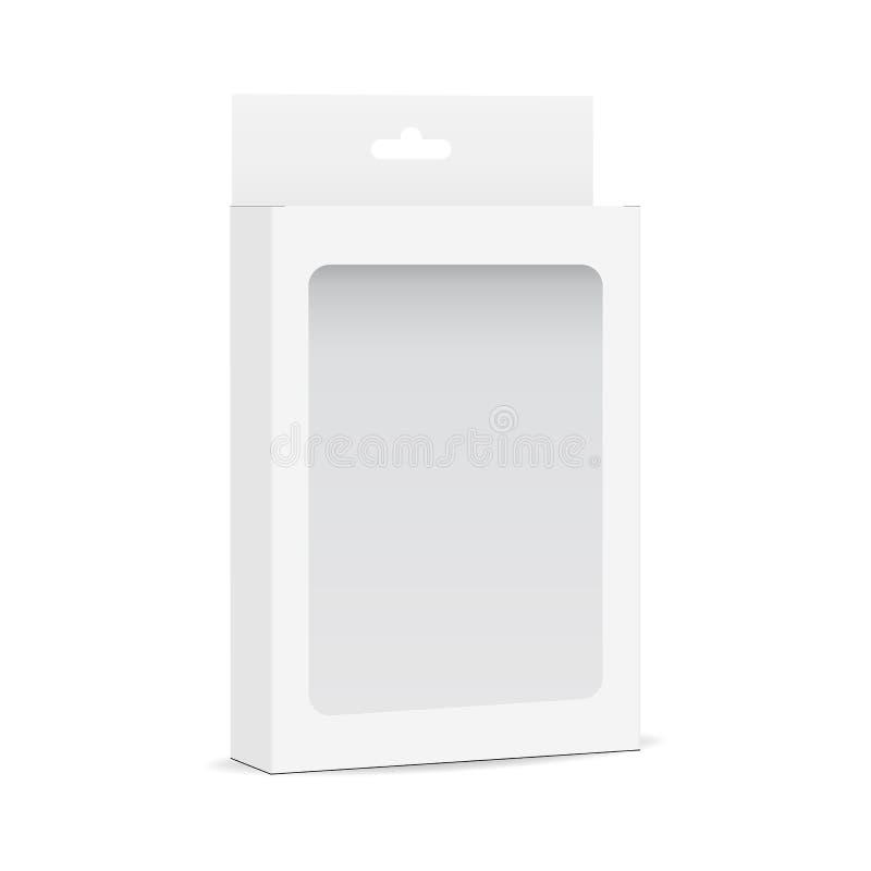 与透明窗口和垂悬的选项-半侧视图的白色空白的箱子大模型 向量例证