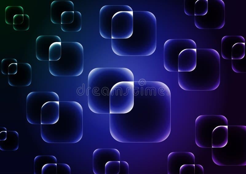 与透明蓝色正方形的深蓝传染媒介背景 皇族释放例证