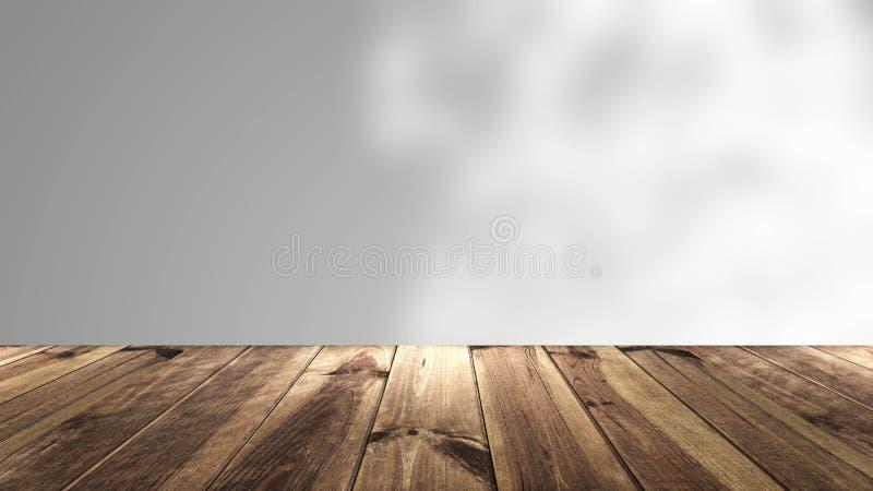 与透视木头和迷离背景的抽象背景 3d翻译 免版税库存照片