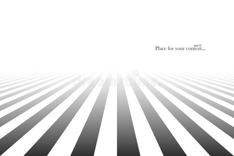 与透视的抽象未来派背景 黑色线路仿造白色 皇族释放例证