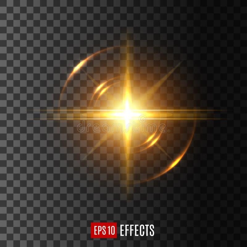 与透镜火光作用传染媒介象的轻的闪光 皇族释放例证
