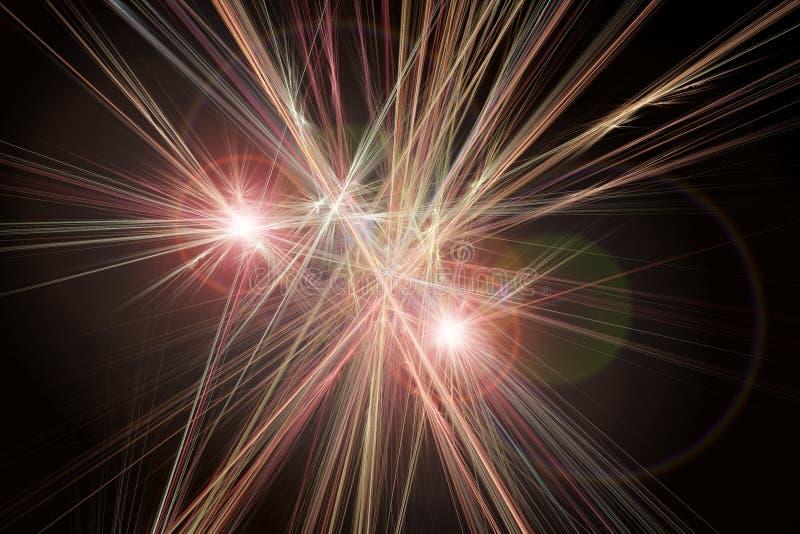与透镜火光作用的抽象发光的背景对黑色 向量例证