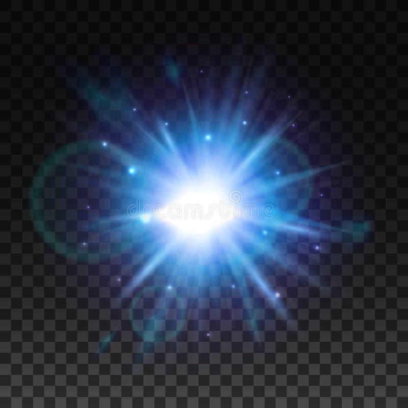 与透镜火光作用的星轻的闪光 皇族释放例证