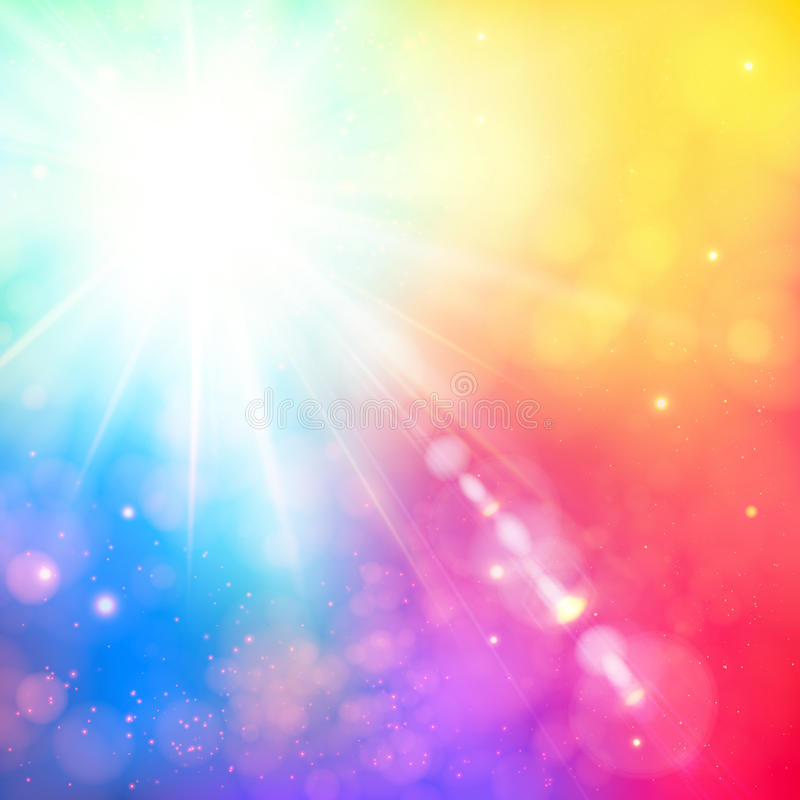 与透镜火光的明亮的光亮的太阳。与bokeh e的软的背景 库存例证