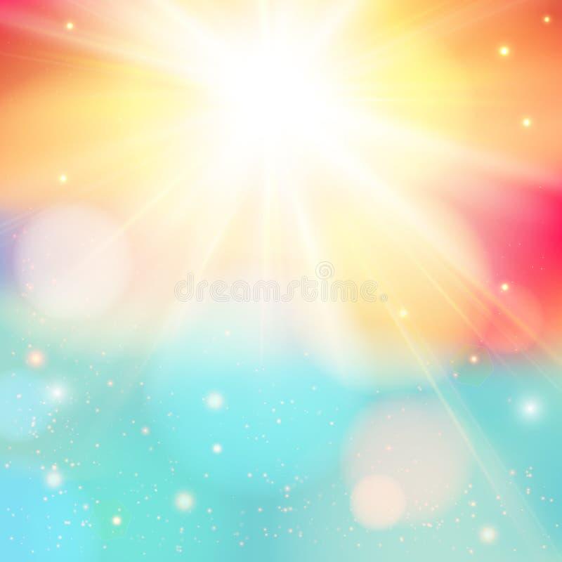 与透镜火光的明亮的光亮的太阳 与bokeh e的软的背景 向量例证