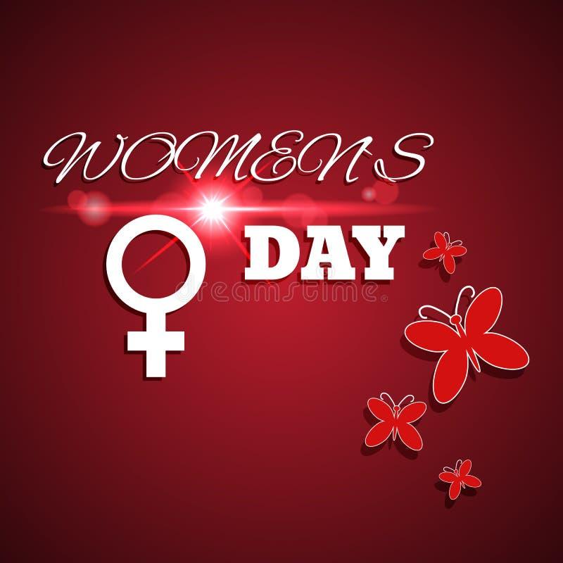 与透镜火光eps 10的国际妇女节红牌 库存例证