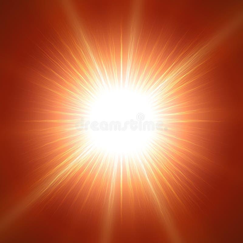 与透镜的闪耀炫目太阳在红色背景 现实传染媒介太阳例证 向量例证
