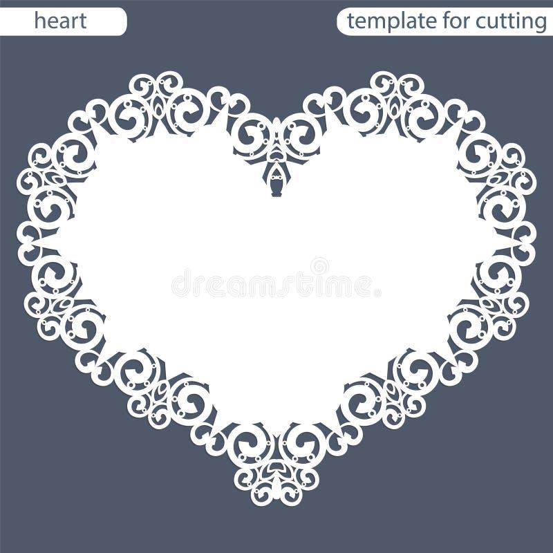 与透雕细工边界,在蛋糕下的纸小垫布,切开的模板的贺卡以心脏,华伦泰卡片, weddin的形式 库存例证