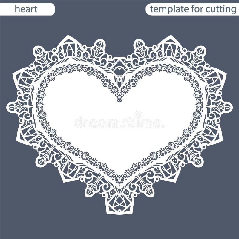 与透雕细工边界,在蛋糕下的纸小垫布,切开的模板的贺卡以心脏,华伦泰卡片, weddin的形式 向量例证