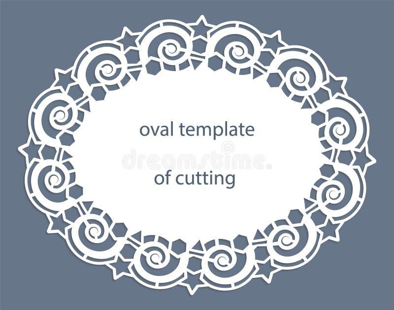 与透雕细工卵形边界,在蛋糕下的纸小垫布,切开的,婚姻的邀请,装饰板材模板的贺卡 皇族释放例证