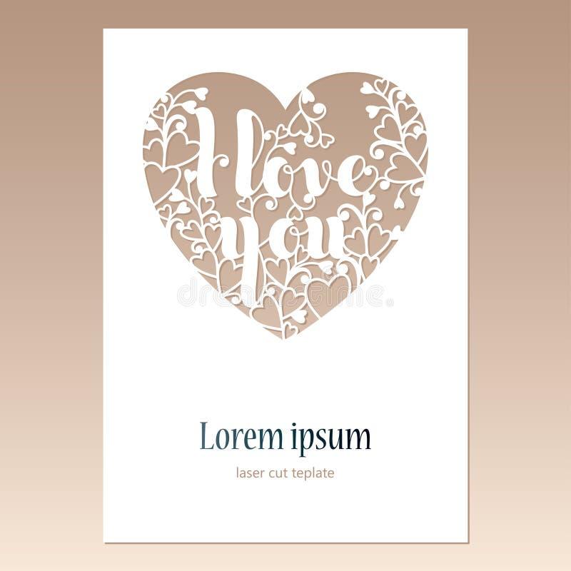与透雕细工心脏的卡片与题字我爱你 激光贺卡的切口模板 向量例证