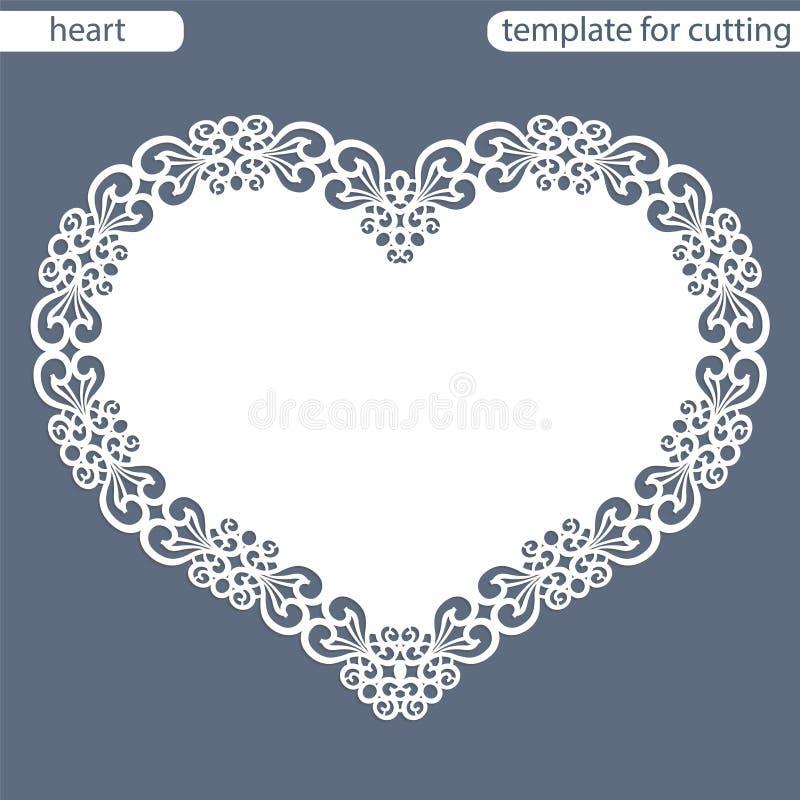 与透雕细工边界,在蛋糕下的纸小垫布,切开的模板的贺卡以心脏,华伦泰卡片, weddin的形式 皇族释放例证