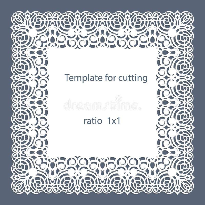 与透雕细工边界,在蛋糕下的纸小垫布,切开的,婚姻的邀请模板的贺卡,装饰板材是lase 向量例证