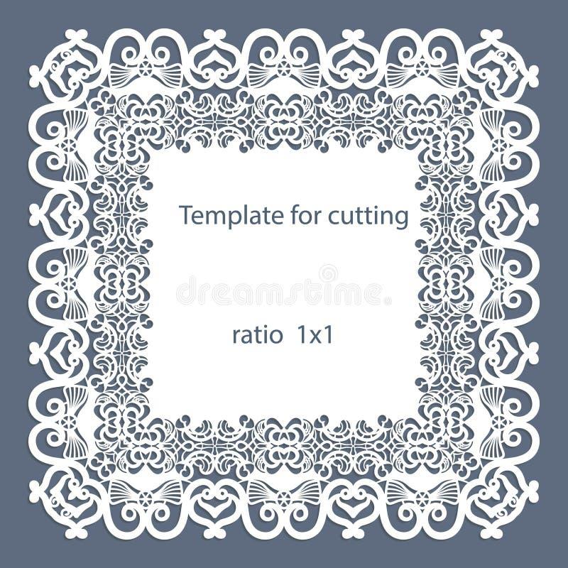与透雕细工边界,在蛋糕下的纸小垫布,切开的,婚姻的邀请模板的贺卡,装饰板材是lase 皇族释放例证