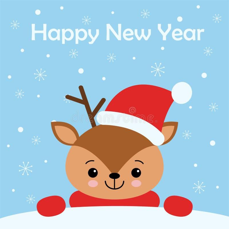 与逗人喜爱亲爱的圣诞快乐卡片穿冬天围巾 r 向量例证