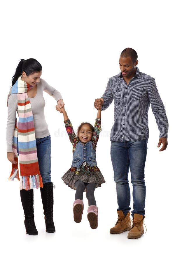 与逗人喜爱小女孩走的混合的族种系列 免版税库存图片