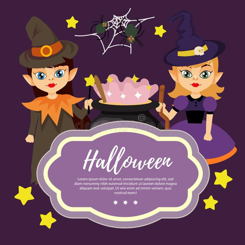 与逗人喜爱的两个女孩巫术师的模板万圣夜 皇族释放例证