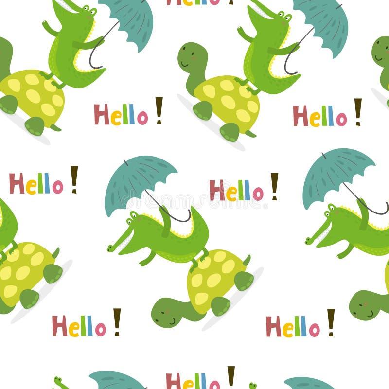 与逗人喜爱的乌龟和鳄鱼的无缝的样式 向量打印 向量例证