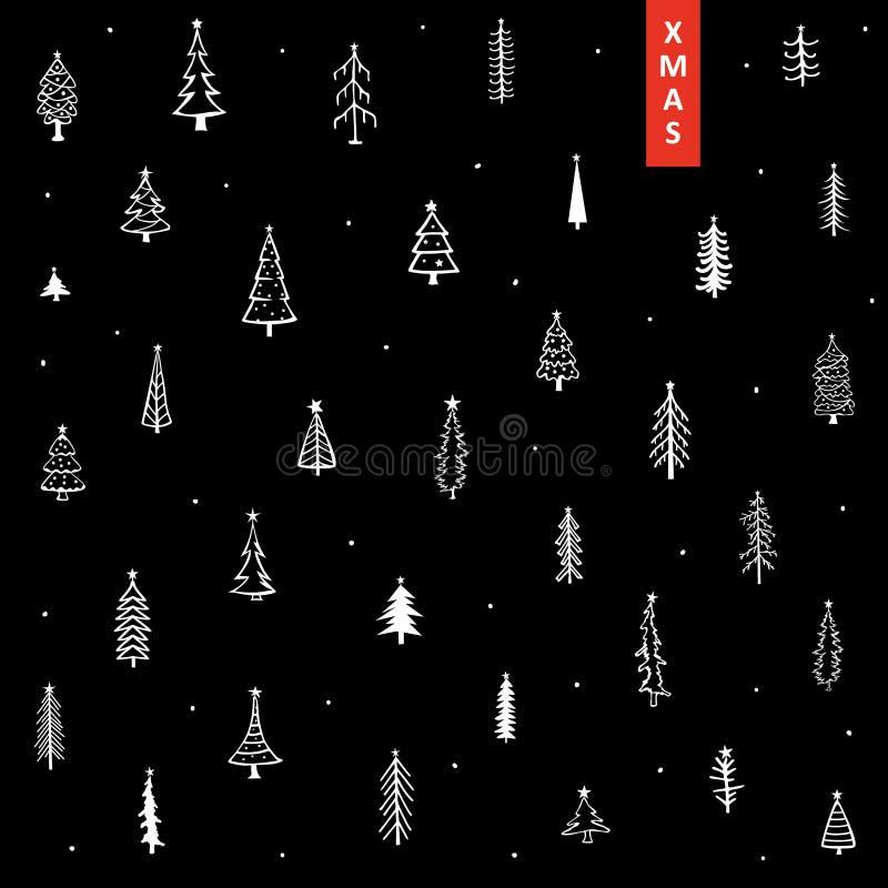 与逗人喜爱的乱画手拉的圣诞节杉树和星的Xmas背景 向量例证