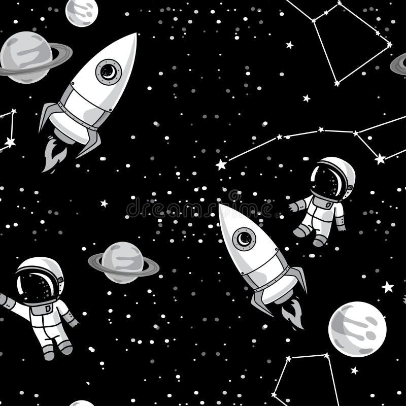 与逗人喜爱的乱画宇航员、行星、火箭和星的无缝的背景 皇族释放例证