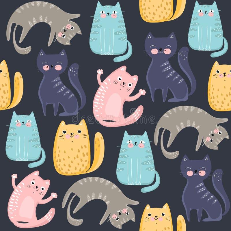 与逗人喜爱的五颜六色的猫的无缝的样式 伟大为织品、纺织品、包装纸,墙纸和其他 ?? 皇族释放例证