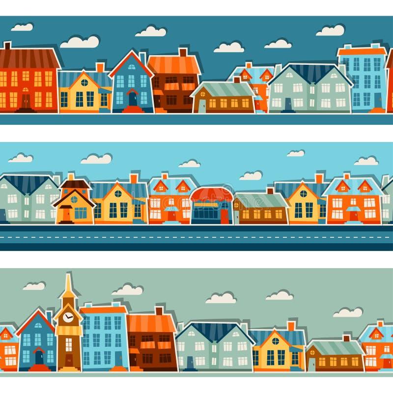 与逗人喜爱的五颜六色的贴纸的镇无缝的样式 皇族释放例证