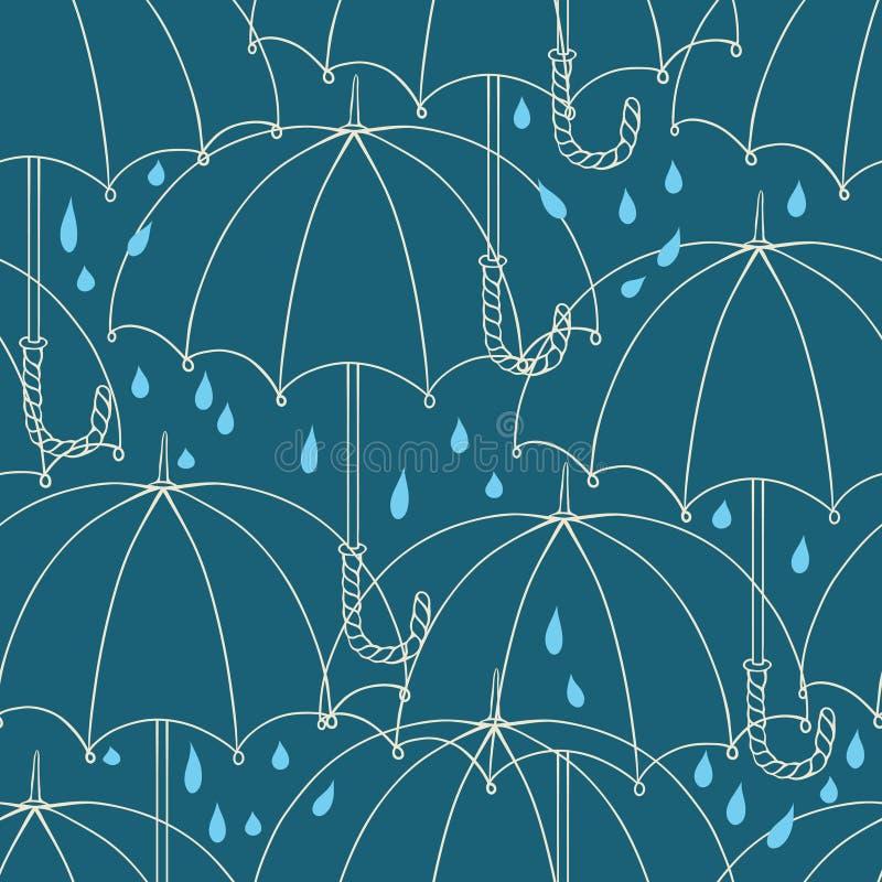 与逗人喜爱的伞的无缝的样式 向量 皇族释放例证