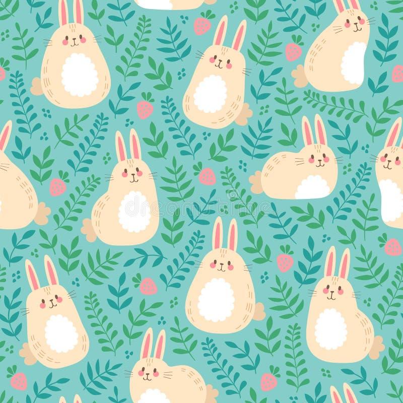 与逗人喜爱的兔宝宝、绿色叶子和草莓的传染媒介无缝的样式 皇族释放例证