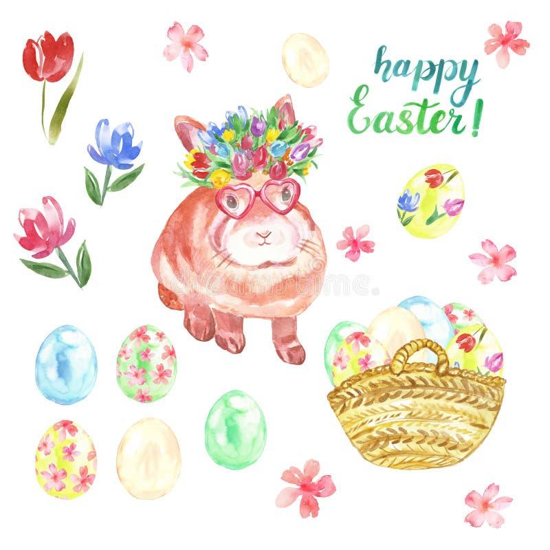 与逗人喜爱的兔宝宝,在篮子的色的鸡蛋,在白色背景隔绝的春天五颜六色的花的水彩愉快的复活节集合 免版税库存照片