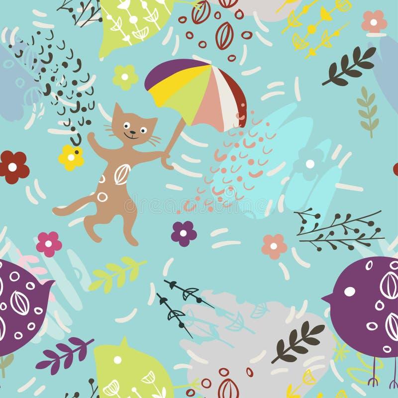 与逗人喜爱的全部赌注、鸟、伞和花的无缝的样式在蓝色背景 织品的,墙纸印刷品,招呼 向量例证