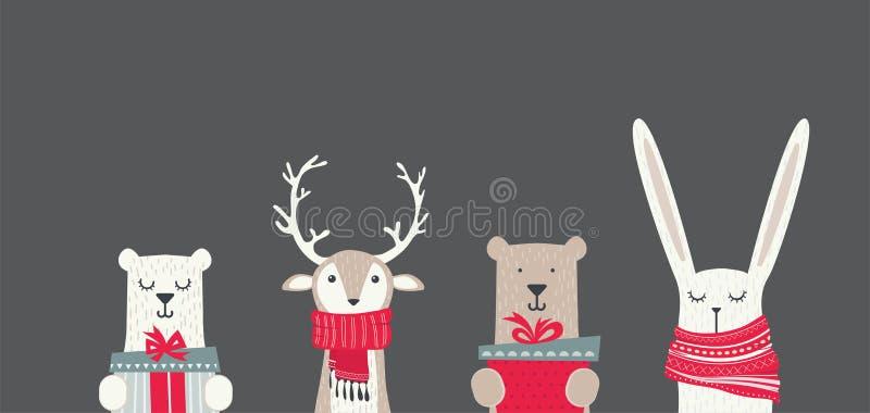与逗人喜爱的冬天动物的横幅与礼物和围巾 圣诞快乐和新年好 向量例证
