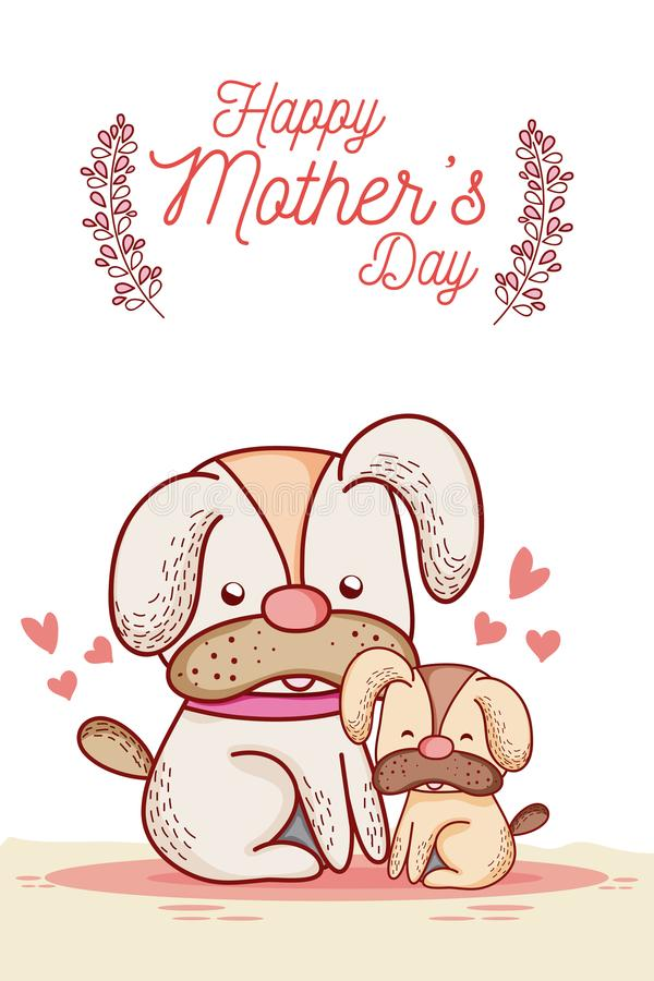 与逗人喜爱的动物动画片的愉快的母亲节卡片 库存例证
