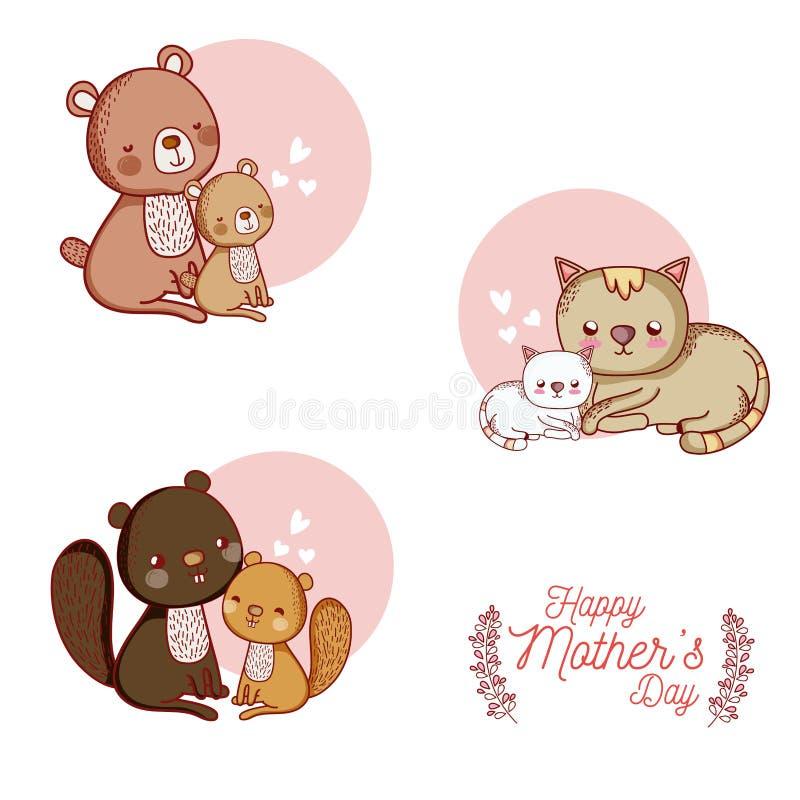 与逗人喜爱的动物动画片的愉快的母亲节卡片 向量例证