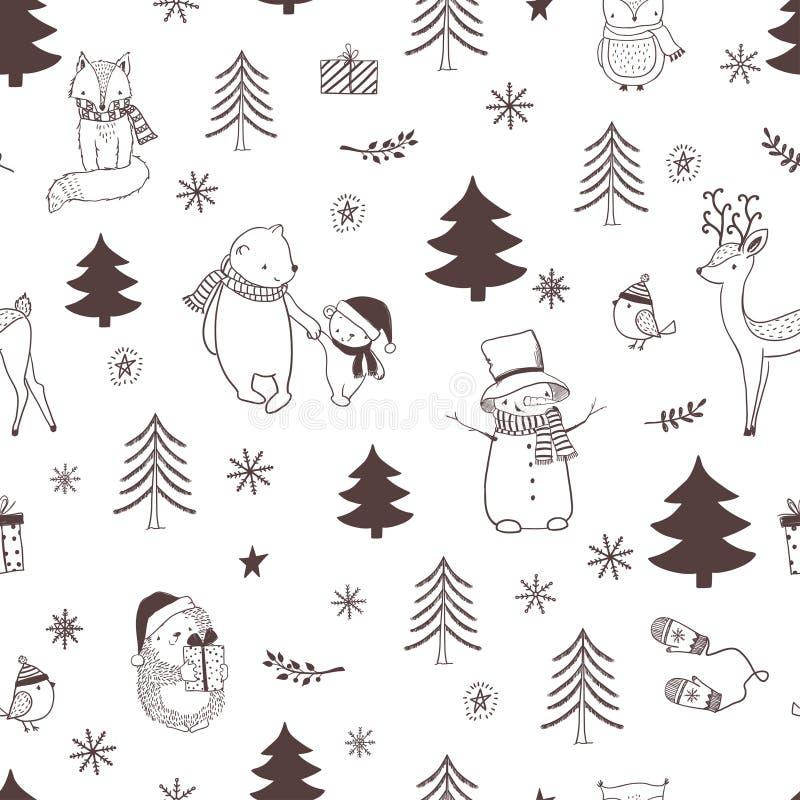 与逗人喜爱的动物和树的圣诞节无缝的样式 皇族释放例证