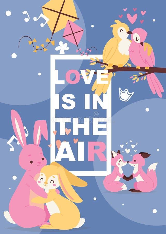 与逗人喜爱的动物在爱,动画片chracters兔子、狐狸和鸟的海报 婴孩生日邀请动物园卡片传染媒介 库存例证