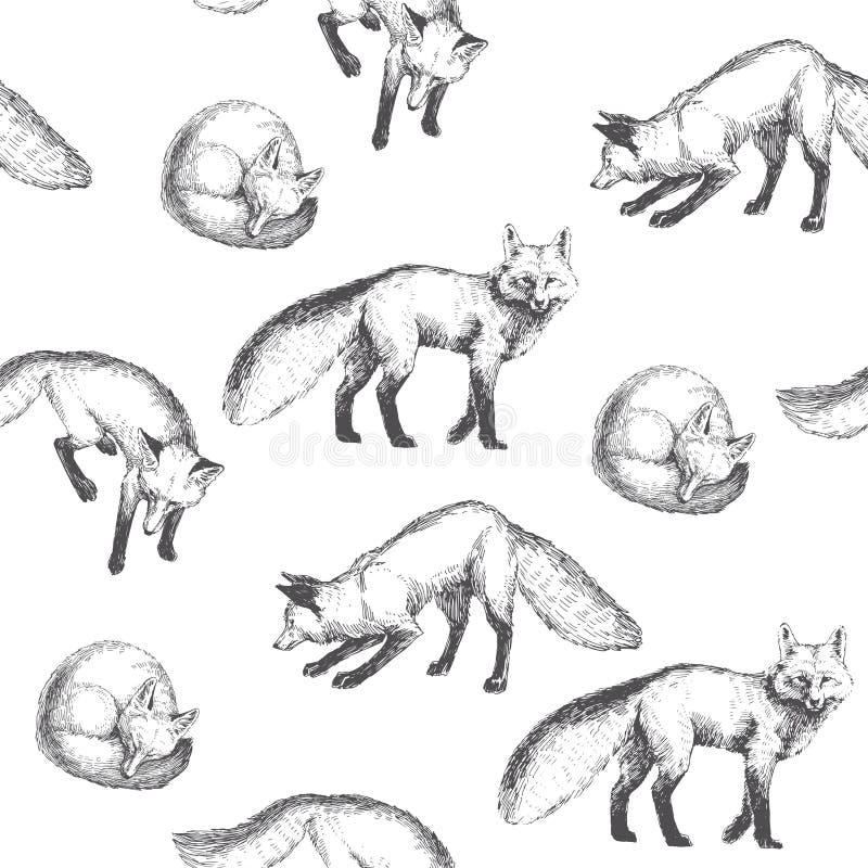 与逗人喜爱的动物字符的传染媒介无缝的样式 拉长的现有量 皇族释放例证