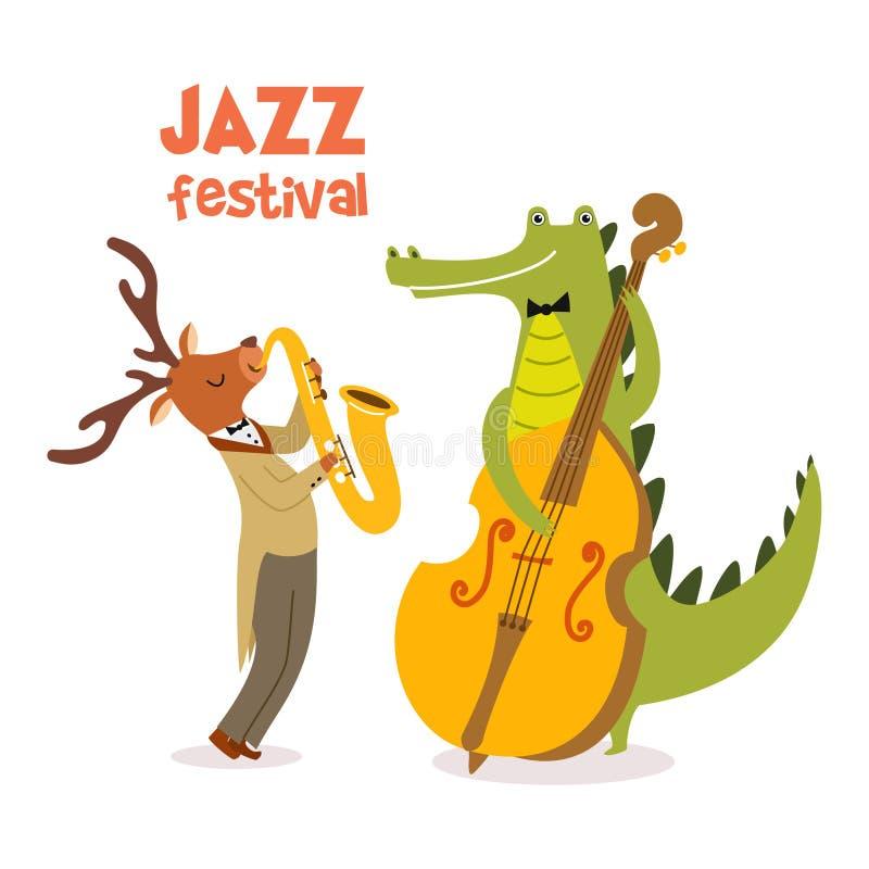 与逗人喜爱的动物带的时髦的爵士乐海报在动画片样式 与动物音乐家爵士节的传染媒介例证 向量例证