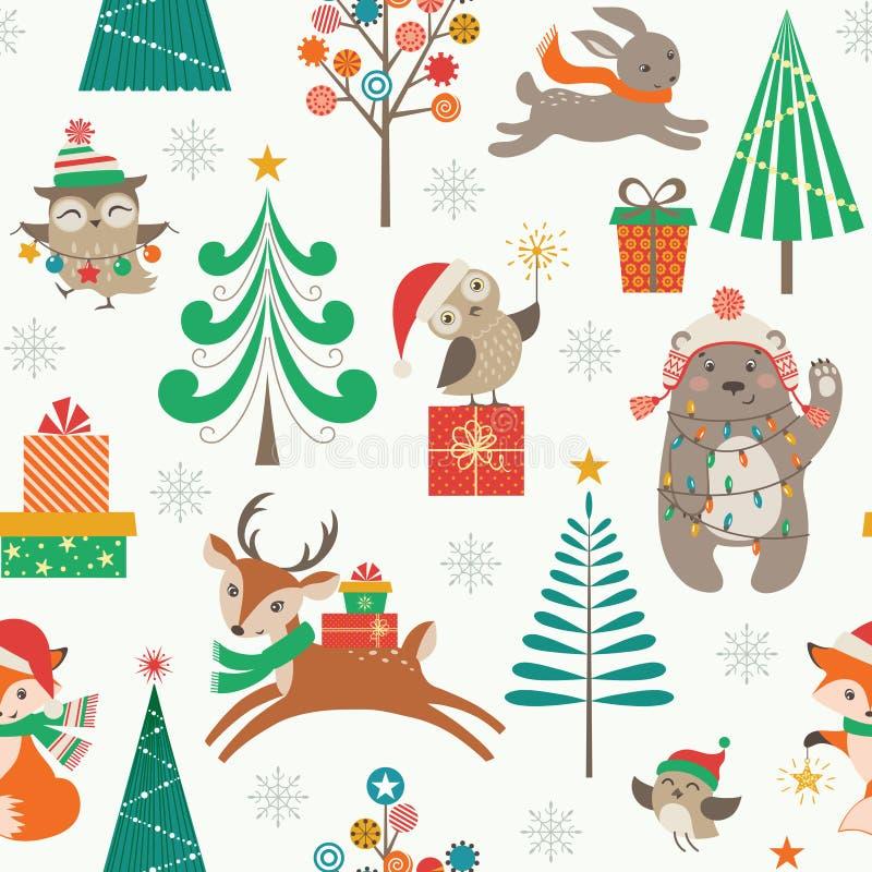 与逗人喜爱的动物的圣诞节啪答声 库存例证