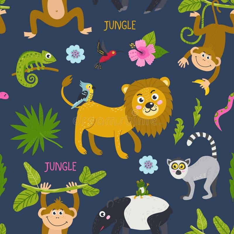 与逗人喜爱的动物的无缝的样式从密林 库存例证