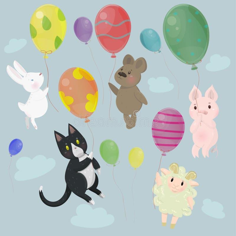 与逗人喜爱的动物的汇集与气球传染媒介图象 向量例证