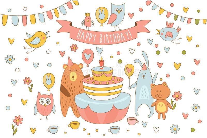 与逗人喜爱的动物的生日快乐卡片在与蜡烛的假日蛋糕附近 熊、兔子、小猫猫头鹰和其他鸟 线艺术 库存例证