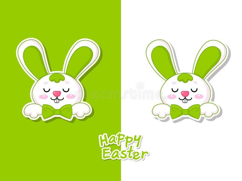 与逗人喜爱的动画片兔宝宝的五颜六色的愉快的复活节贺卡 传染媒介例证装饰元素在复活节天 向量例证