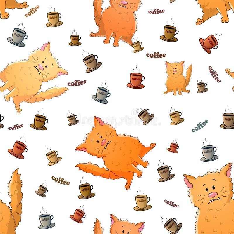 与逗人喜爱的动画片奇怪的猫和咖啡的传染媒介无缝的样式 r 在白色背景的纹理 ?? 向量例证