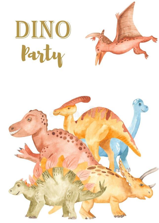 与逗人喜爱的动画片恐龙的水彩卡片. 子项, 逗人喜爱.图片
