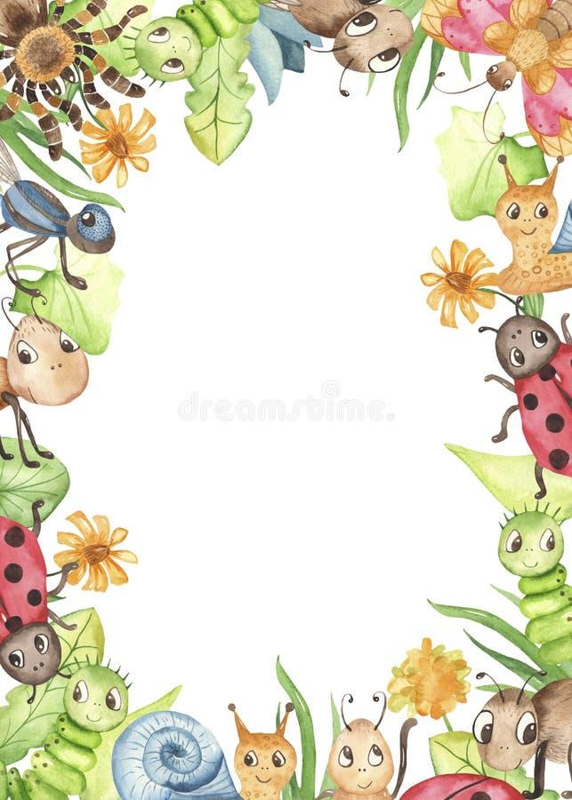 与逗人喜爱的动画片昆虫的水彩长方形框架 库存例证